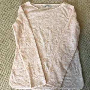 Ann Taylor LOFT Blush Lace Top Size XS
